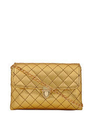 Yelloe Golden Sling Bag With Gold Chain Strap Vk1s752i