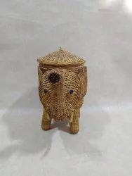 Cane Elephant Shape Antique Basket