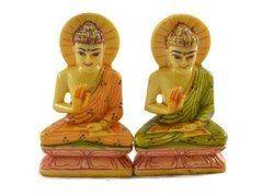 Handmade Handpainted Pair of Lord Buddha Resin Figurine Sculpture