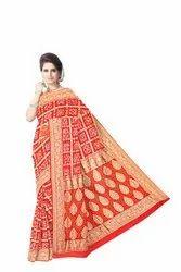 All Over Red Color Checks Design  Banarasi Georgette Saree