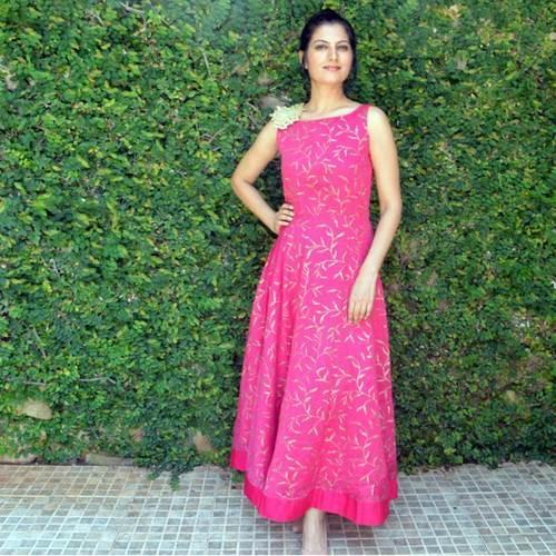 3ca3df4efc9 Dark Pink Evening Gown Hand Block Printed at Rs 2550  piece ...