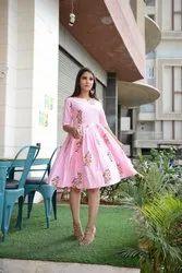Ladies Printed Pink Flare Dress