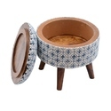 Cotton Printed Indigo Rug Upholstered Stools Ottomans