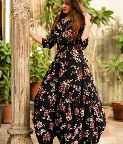 Image result for black floral gown