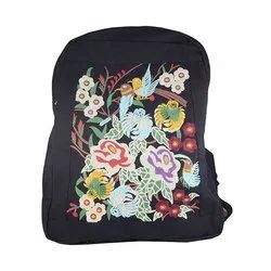 Cotton Fabric Black Shoulder Backpack BP10004