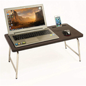 Stainless Steel Laptop Table with inbuilt Mobile Stand and Mouse Pad, Full Size (Sunrise)