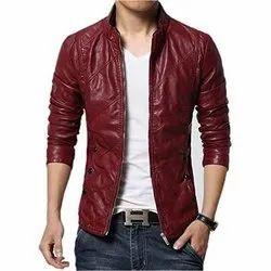 Full Sleeve Party Wear Mens Maroon Leather Jacket