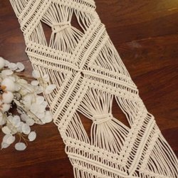Natural Cotton Macrame Table Runner
