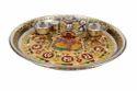 Golden Ganesha Designed S.S Meenakari Puja Thali