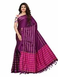 Purple Colored Poly Silk Woven Patta Casual Wear Saree