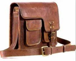 Brown Leather Messenger Bag, Strap Adjustable: Yes