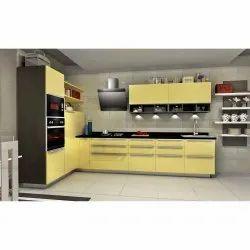 Laminated L Shaped Modular Kitchen