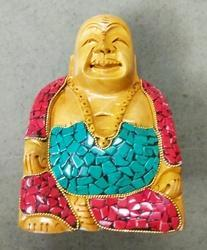 Wooden Laughing Buddha With Stone Work
