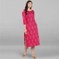 Pink Rayon Kurta With Pant(SET055)