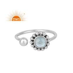 Blue Topaz Gemstone Oxidized Silver Flower Design Rings