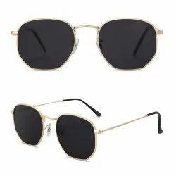Fibre Good, Black Hexagon Black On Gold Sunglasses, Size: Medium