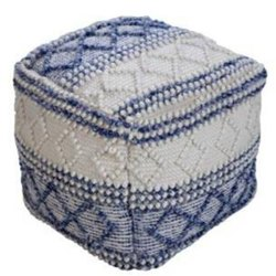 Handmade Pouf White and Blue Color Wool and Cotton Pouf
