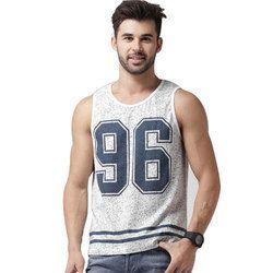 Men's White Printed Sleeveless T-Shirt, Size: M-XXL