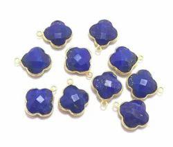 Lapis Lazuli Clover Shape Bezel Set Stone Pendant