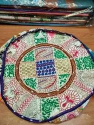 Cotton Ottoman Pouf Patchwork In Footstool Cover, Size: 18x13 inches