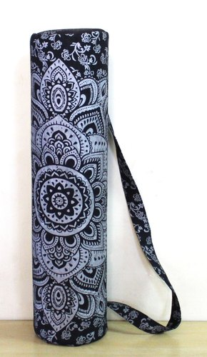 Black Silver Yoga Mat Carrier Bag Hippie Mandala Cotton Bags With Shoulder Strap