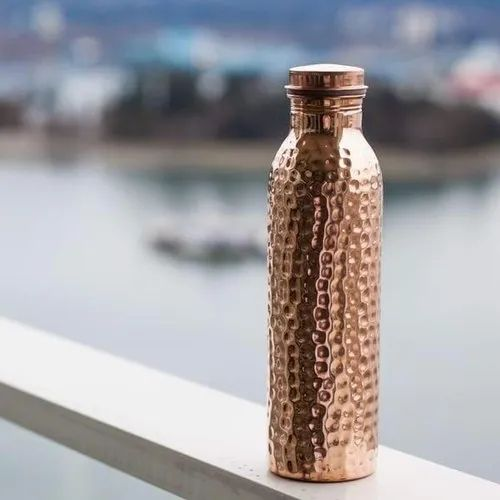 Cylinder Hammered Copper Water Bottle, Screw Cap, Capacity: 900ml