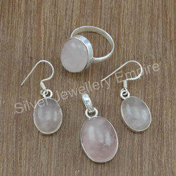 Rose Quartz Gemstone 925 Sterling Silver Fantastic Set