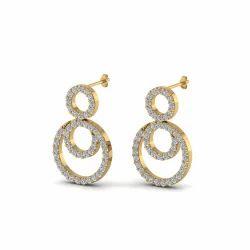 Small Diamond Yellow Gold Earring