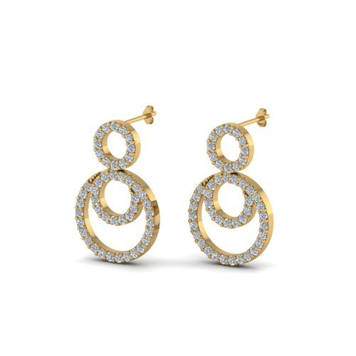 Small Diamond Yellow Gold Earring