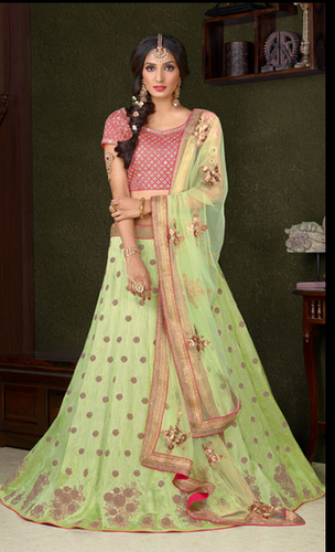 Pista Green Color Silk Embroidered Designer Wedding Lehenga