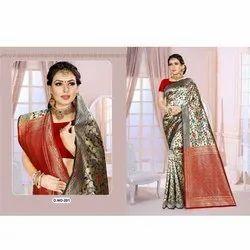 Fancy Banarasi Silk Floral Weave Saree With Blouse Piece