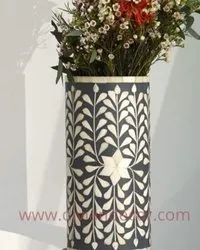 Gray Foliage Handcrafted Bone Inlay Vase