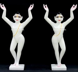 White Marble Gaur Nitai Statue