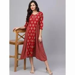Printed Rayon Long Flared Kurti