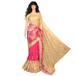 Party Wear Pink And Golden Ladies Lace Border Saree