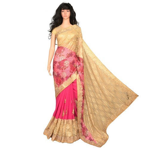 Party Wear Pink And Golden Ladies Lace Border Saree, With Blouse Piece, 5.5 m (separate blouse piece)