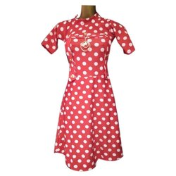 Red Printed Girl Cotton Party Wear Frock, Size: 26.0, Age Group: 5-12 Years