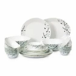 Cello Imperial Floral Bloom Opalware Dinner Set, 27 Pieces, White