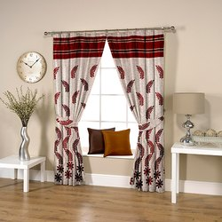 Flowery Weave Red Curtain