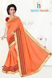 Georgette Orange Bangalori Saree