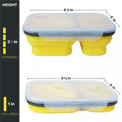 silicon Multicolor Silicone Lunch Box, for multi use, Capacity: 1000 Ml