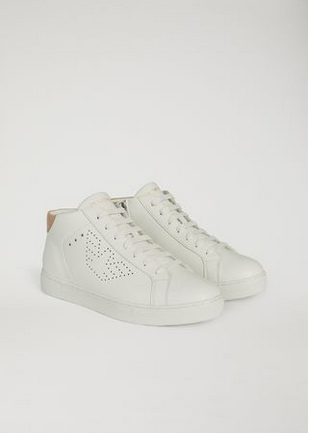 01eaa9cf00 EMPORIO ARMANI Men High-top Sneakers With Perforated Logo ...