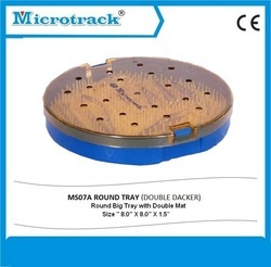Round Plastic Sterilization Tray with Single Silicone Mat