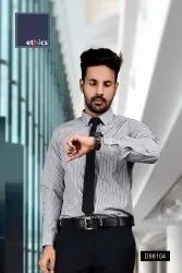 Gray Stripes Formal Wear Shirt for Corporate Office D-98104