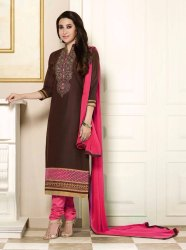 Coffee Rani Embroidered Cotton Unstitched Dress Material (Product Id: 100004)