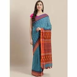 Nakshi Party Wear Blue & Orange Printed Cotton Saree, 6.3 m (with blouse piece), Hand Made