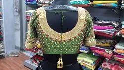 Designer Green Coin Work Bridal Blouse