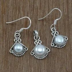 Silver Pearl Gemstone Set Jewelry