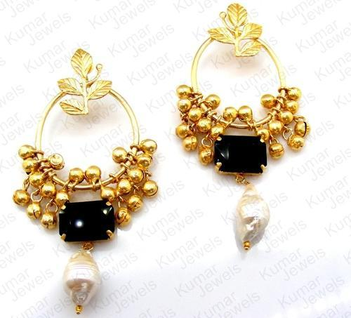 Ar Jewels Engagement And Party Innovative Black Stone Mughal Earring
