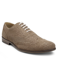 Hats Off Suede Brogue Snake Scale Shoes